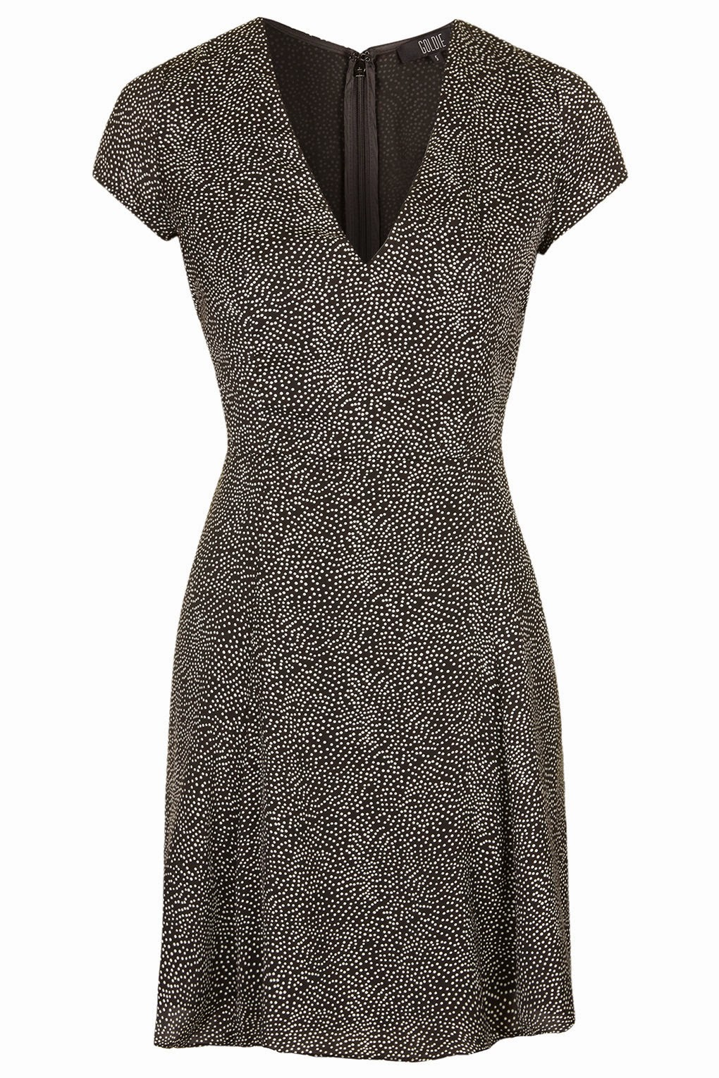spotty goldie dress, topshop black tea dress,