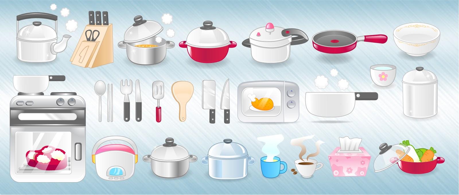 台所用品のクリップアート Kitchen Icons イラスト素材