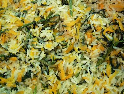 Arroz com Cenoura e Ramas (vegana)
