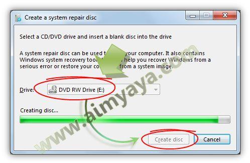 Gambar: Proses membuat CD/DVD Windows 7 system Repair