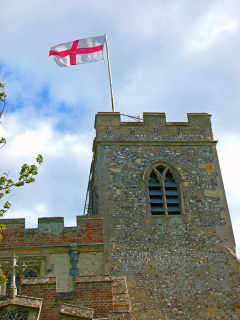 English flag, St George, church tower