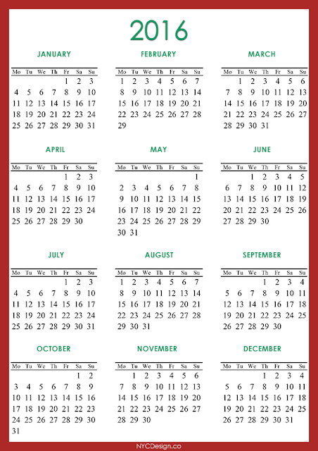 2016 Calendar Printable - Red, Green, White