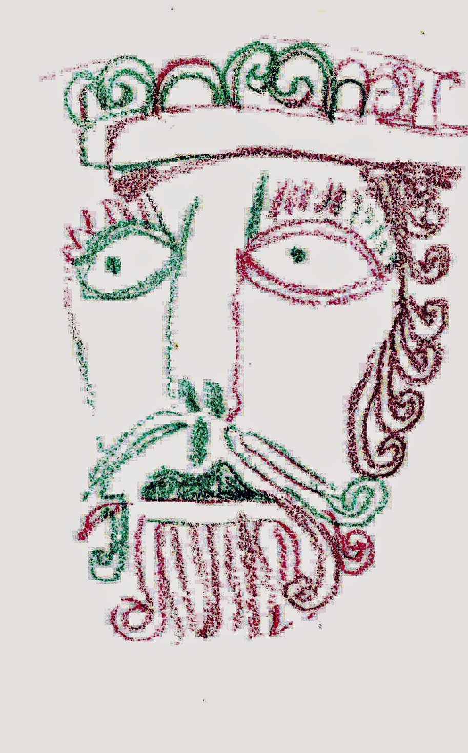 A bearded king? with wide eyes is carved on the right hand of the door.