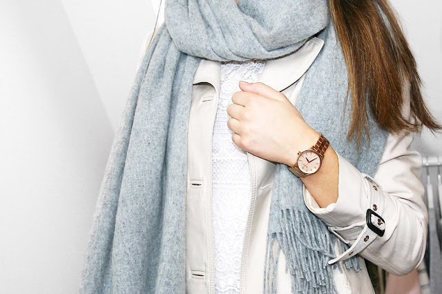 Katherine Penney Chic Blogger Fashion Style Outfit Winter Neutrals Trench Coat Scarf White Pastel Pretty