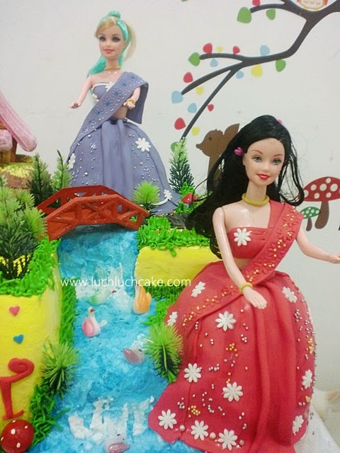 kue tart ulang tahun anak cewek barbie princess disney