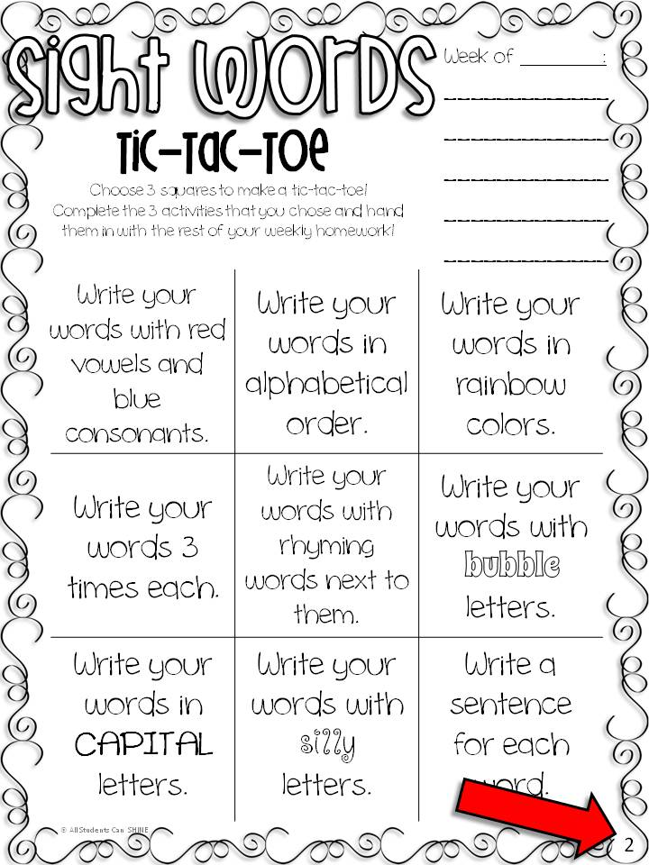 Worksheets 1 2 Spelling sight words spelling tic tac toe freebie all students can shine 12 3 at the bottom right corner of pages i do this in order to make sure my not always choose same ac