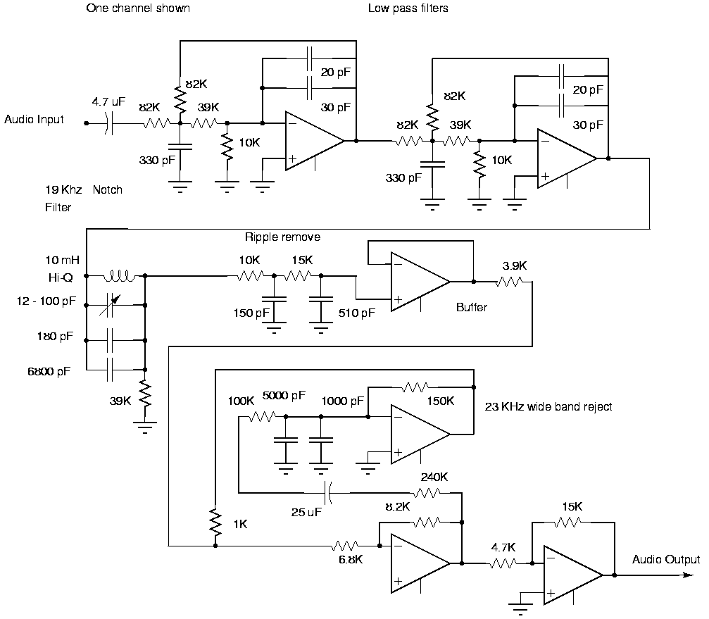 Surroom Stereo Coder From Http Blockyouridcom Gbpprorg Band Reject Filter Circuit And In A Real System Would Be Phased Lock Looped Carriet Detect Circuits Are Not Needed If Parts Limited Use Leds On The Switches