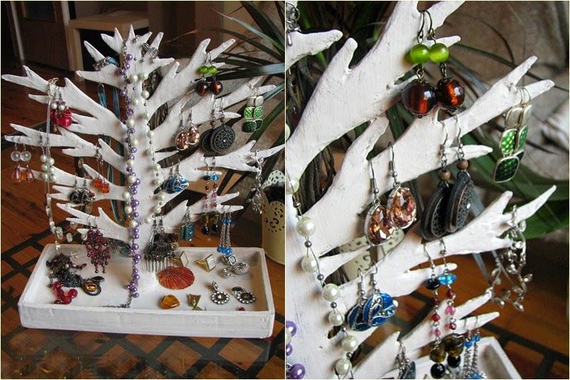 drzewko z kartonu | organizacja kolczykow | organizacja bizuterii