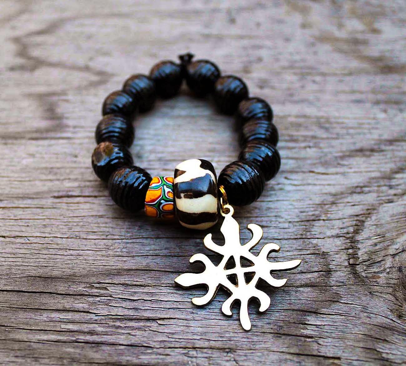 mens african adinkra funtunfunefu denkyemfunefu beaded bracelet