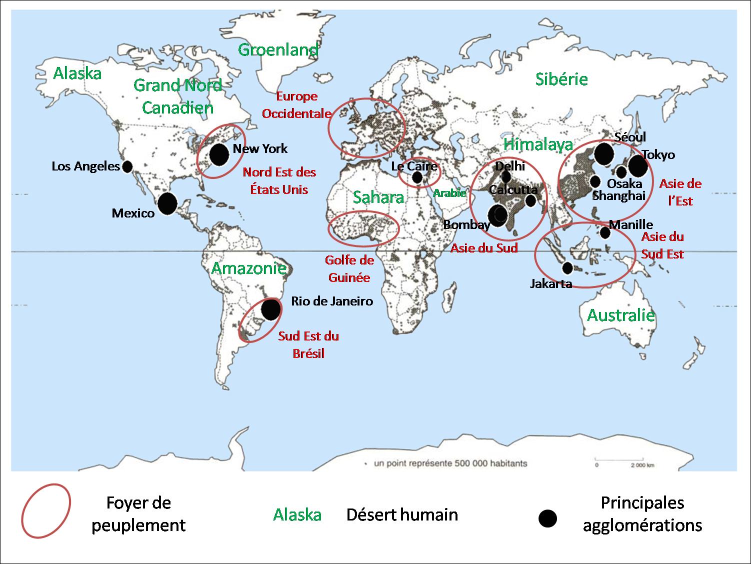 Carte Des Grand Foyer De Peuplement : Cartes des foyers de peuplement et d�serts humains