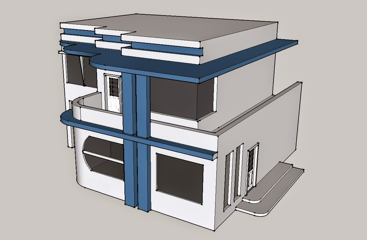 A streamlined/Art deco house, 1930s | File SketchUP Design Home