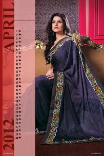 Zarine Khan Desktop Calendar 2012