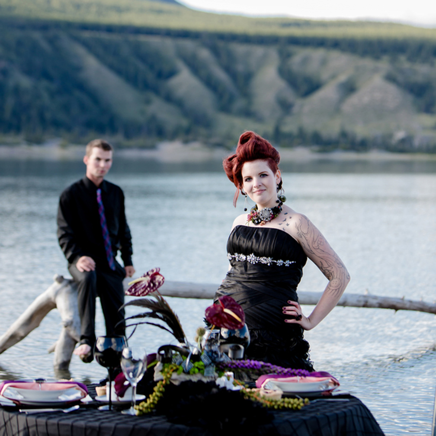 alternative bride, tattooed bride, black wedding gown