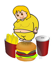 image of an overweight person unhappily viewing fast food items; french fries, burger and soda.