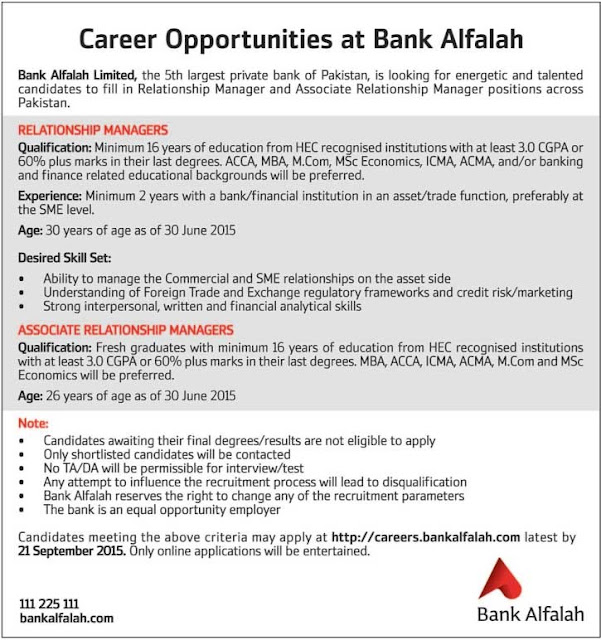 Jobs in Bank Alfalah Limited for Fresh Graduates