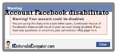 account facebook disabilitato