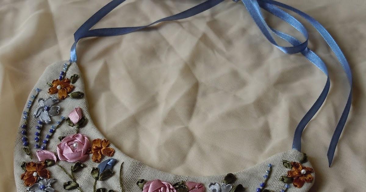 Вышивка лентами колье 26