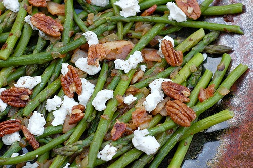 Asparagus with goat cheese and candied pecans by Eve Fox, the Garden of Eating, copyright 2011