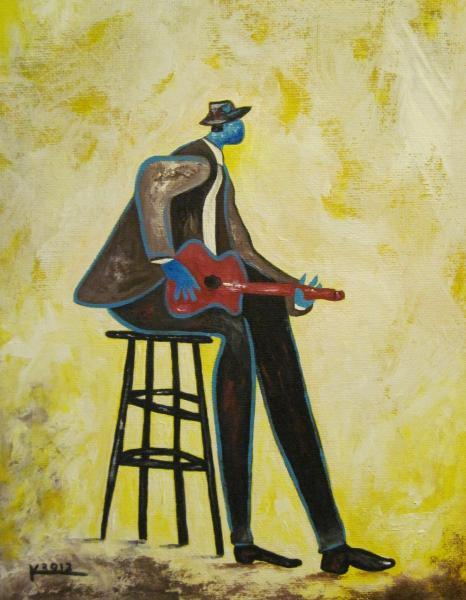Original abstract jazz art red guitar man painting