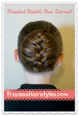 cute bun hairstyle, braided bubble bun