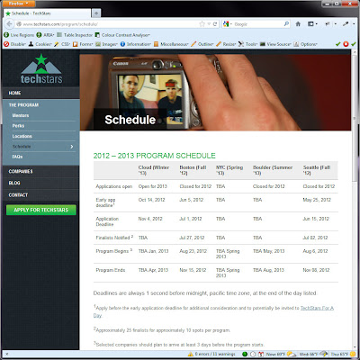 Screen shot of http://www.techstars.com/program/schedule/.