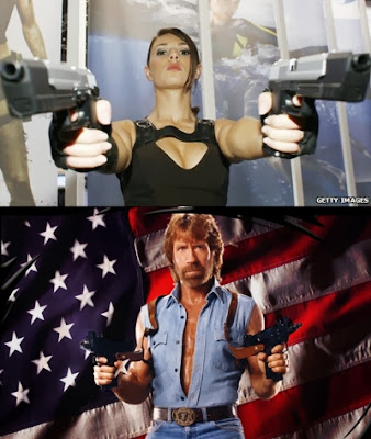 Lara Croft vs. Chuck Norris holding two guns