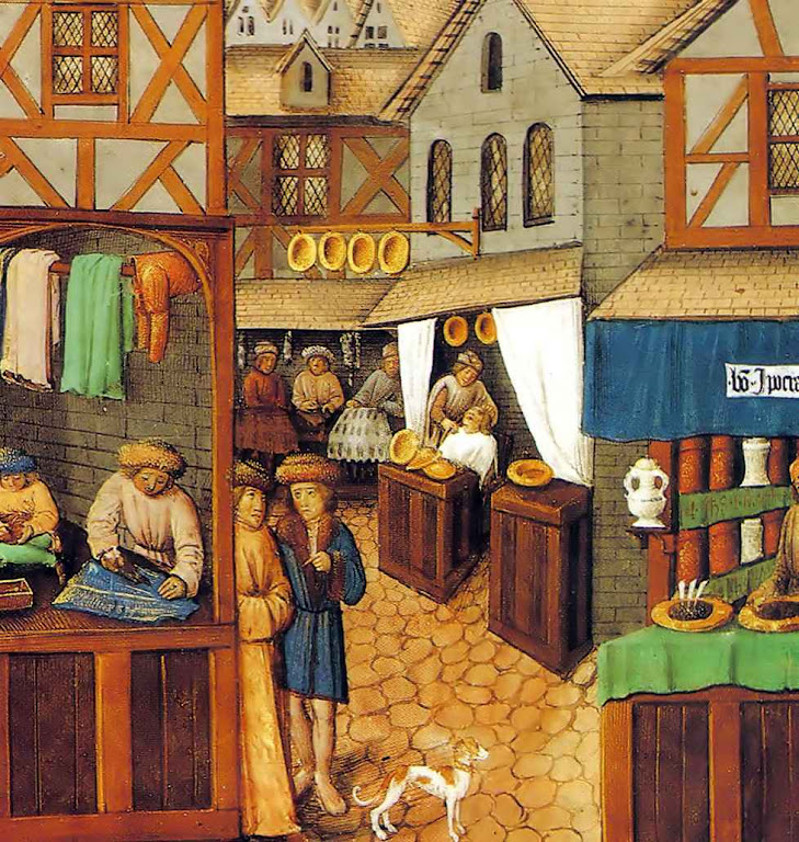 Na Idade Média toda a atividade acontecia na rua, à luz do dia. Todos podiam ver como o produto era fabricado, como o serviço era feito, e encomendar as coisas como cada um queria.