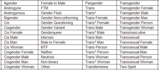 Sexual identity list