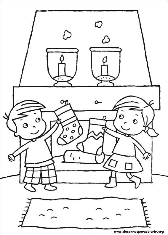 Desenho como desenhar História do Papai Noel  para copiar pintar e colorir
