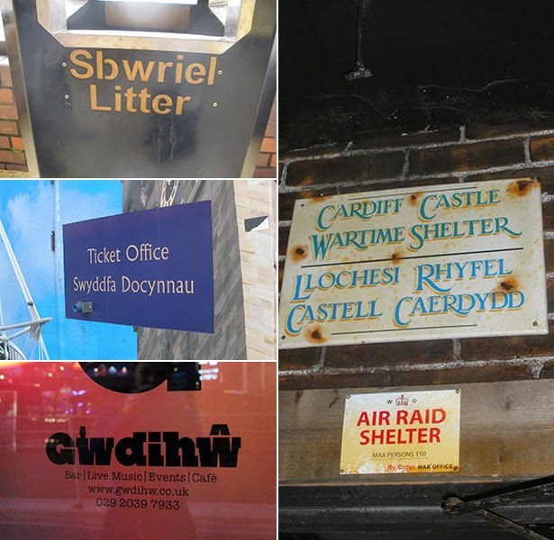 Welsh language signs in Cardiff, Wales
