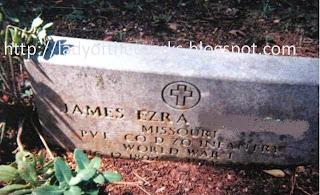 Grandpa Ezra's gravestone at Alwood Cemetery in the Ozarks