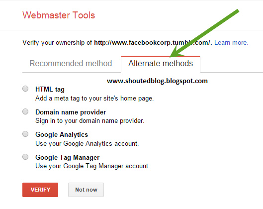 Verify or Submit Tumbler Blog With Google Webmstre Tools