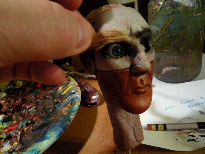 Painted Replacement Face, Stopmotion Puppet © 2012 Jeff Lafferty