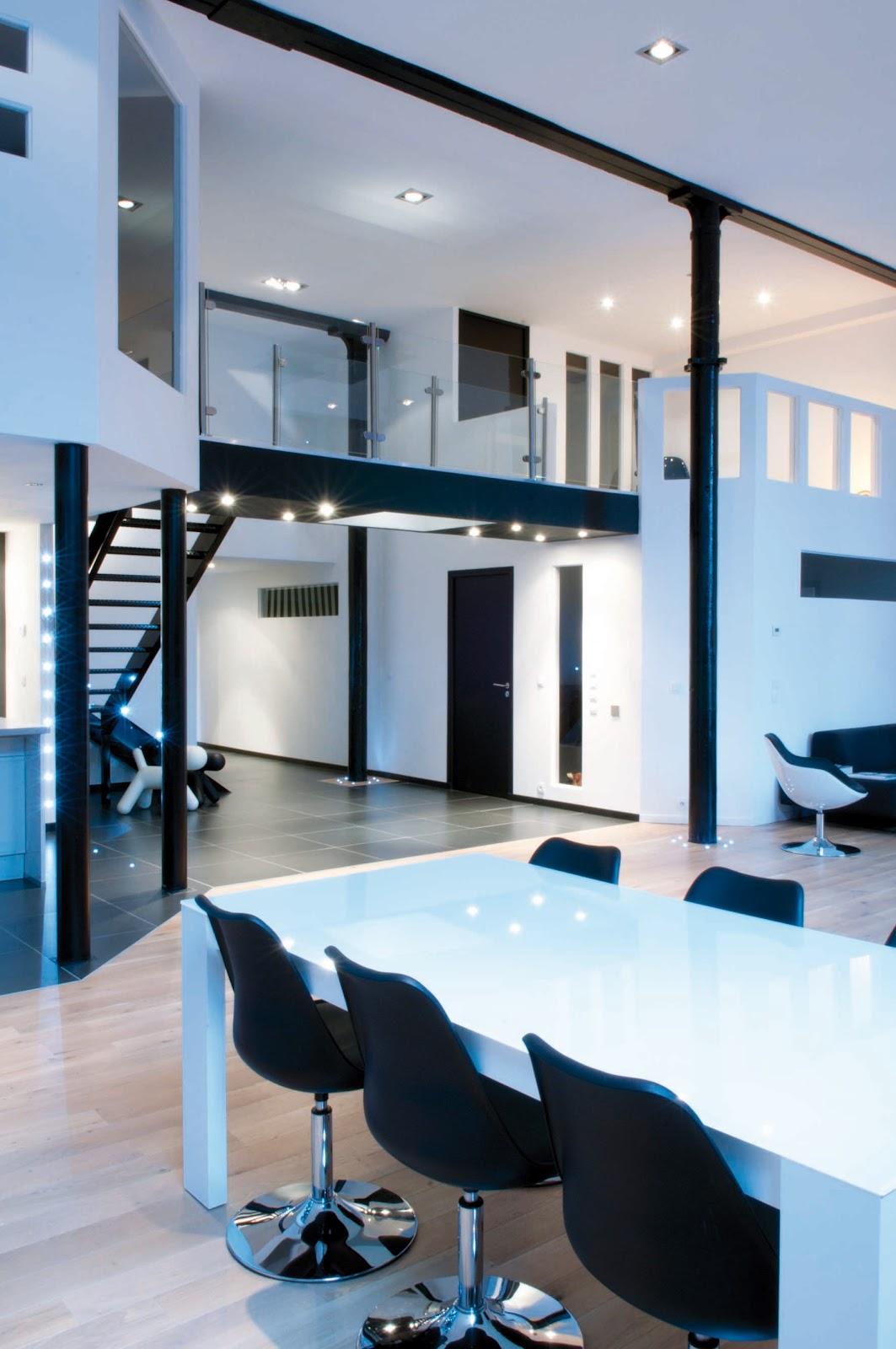 1000lofts visite deco noir et blanc for Loft arredamento