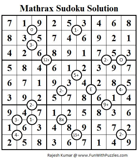 Mathrax Sudoku (Daily Sudoku League #81) Solution