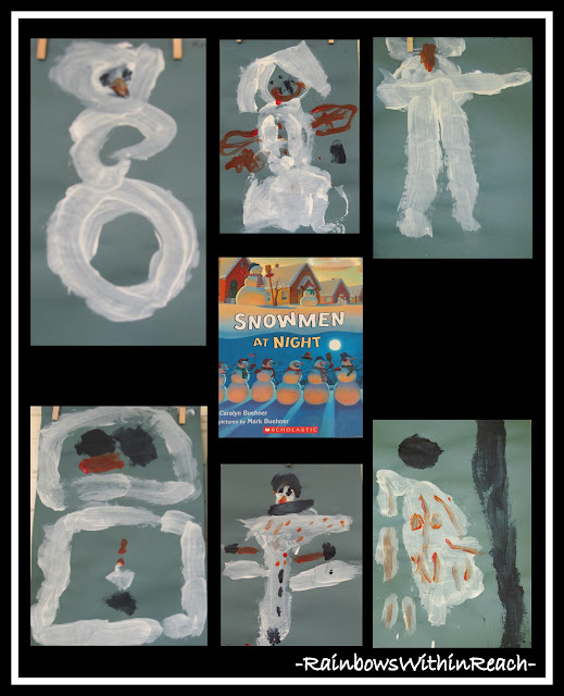 photo of: Snowmen at Night Easel Paintings via RainbowsWithinReach Winter RoundUP