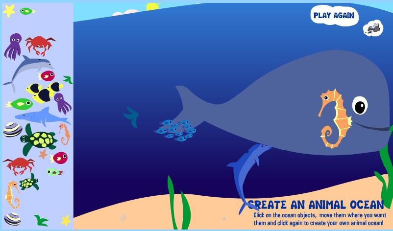 JUEGOS SENCILLOS EDUCACION ESPECIAL: juego CREA UN OCEANO CON LOS