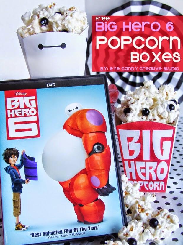 popcorn box, FREE Big Hero 6 popcorn box, free download, baymax