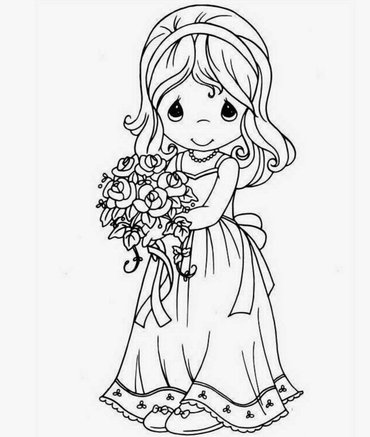 colours drawing wallpaper Beautiful Princess Doll Coloring Page for