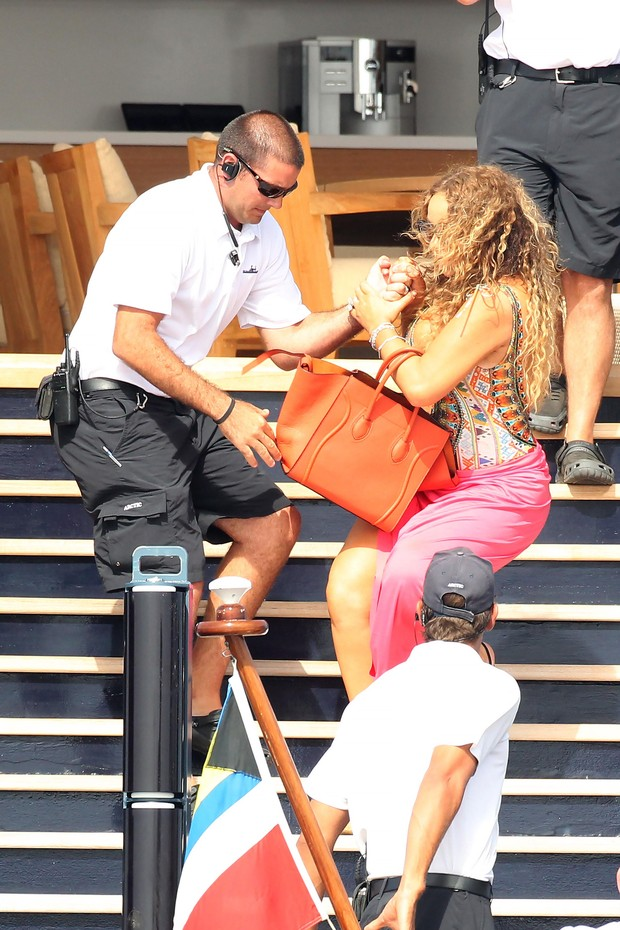 Mariah Carey supported by safety