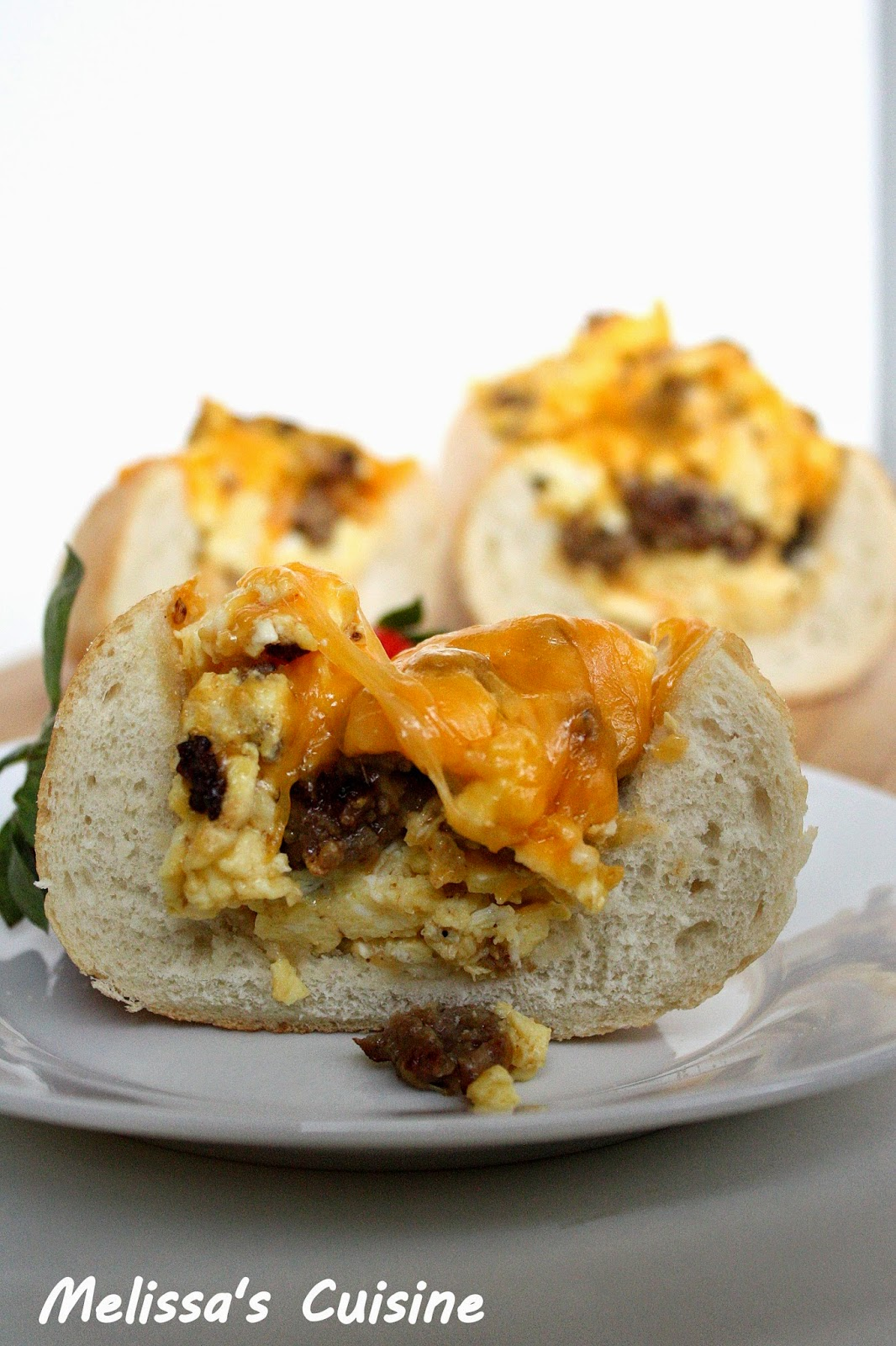 Melissa's Cuisine:  Sausage and Egg Breakfast Boat