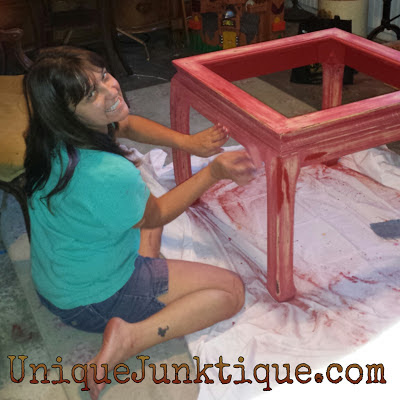 sanding A side Table With Annie Sloan Paints