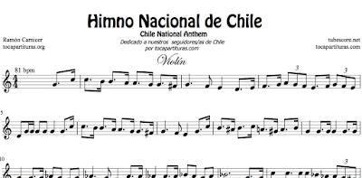 Himno Nacional de Chile Partitura de Flauta, Violín, Saxofón Alto, Trompeta, Viola, Oboe, Clarinete, Saxo Tenor, Soprano Sax, Trombón, Fliscorno, chelo, Fagot, Barítono, Bombardino, Trompa o corno, Tuba...