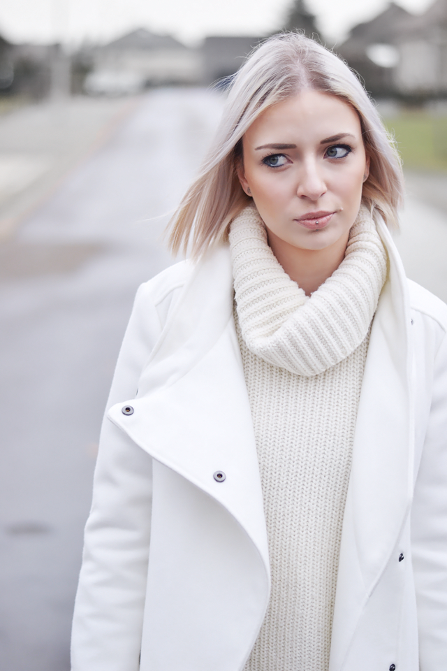 Mango white coat, Gina tricot white turtle neck, oversized, casual outfit