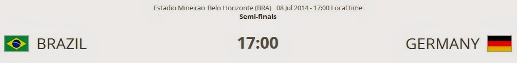 Brazil vs. Germany live 2014 FIFA WORLD CUP Semi-finals on 08 Jul 2014