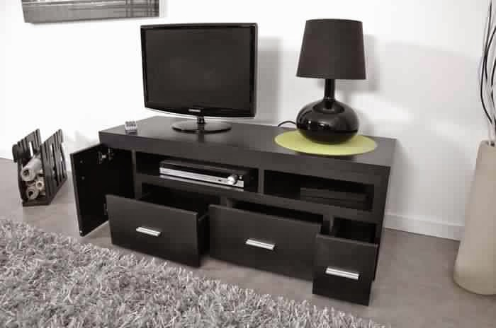 Meuble tv noir rangement meuble tv for Meuble tv haut noir