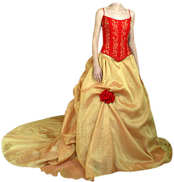 She fashion club red and gold wedding dresses for Red and gold wedding dress