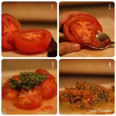 pesto stuffed tomato