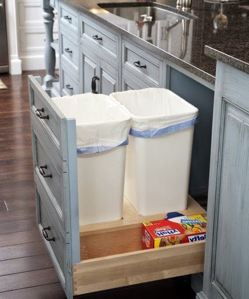 Kitchen storage ideas ayanahouse for Trash can ideas for small kitchen