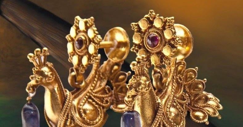 Intricate Gold Jhumkas In Peacock Design